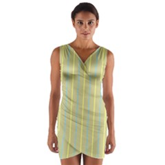 Summer Sand Color Blue And Yellow Stripes Pattern Wrap Front Bodycon Dress