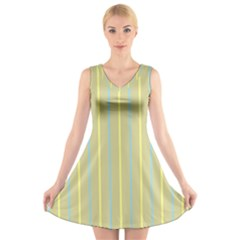 Summer Sand Color Blue And Yellow Stripes Pattern V Neck Sleeveless Skater Dress