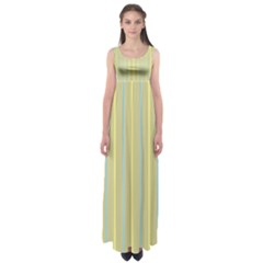 Summer Sand Color Blue And Yellow Stripes Pattern Empire Waist Maxi Dress