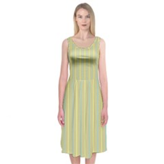 Summer sand color blue and yellow stripes pattern Midi Sleeveless Dress