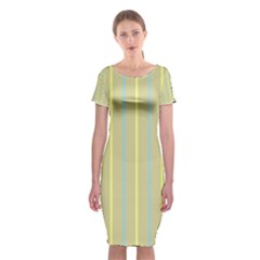 Summer Sand Color Blue And Yellow Stripes Pattern Classic Short Sleeve Midi Dress
