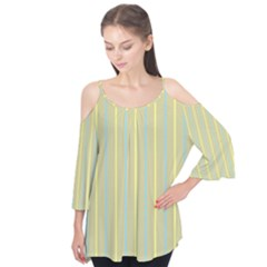Summer Sand Color Blue And Yellow Stripes Pattern Flutter Tees