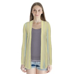 Summer sand color blue and yellow stripes pattern Drape Collar Cardigan
