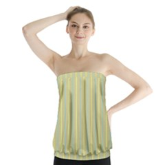 Summer Sand Color Blue And Yellow Stripes Pattern Strapless Top