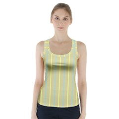 Summer Sand Color Blue And Yellow Stripes Pattern Racer Back Sports Top