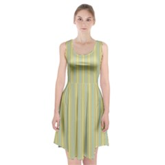 Summer Sand Color Blue And Yellow Stripes Pattern Racerback Midi Dress