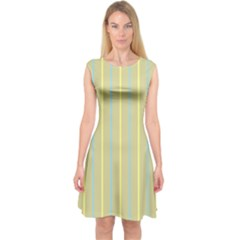 Summer sand color blue and yellow stripes pattern Capsleeve Midi Dress
