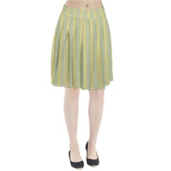 Summer sand color blue and yellow stripes pattern Pleated Skirt