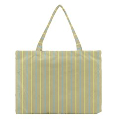 Summer Sand Color Blue And Yellow Stripes Pattern Medium Tote Bag