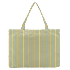 Summer Sand Color Blue And Yellow Stripes Pattern Medium Zipper Tote Bag