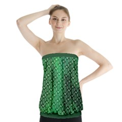 Green Abstract Forest Strapless Top
