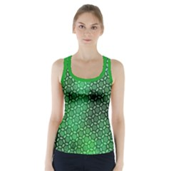 Green Abstract Forest Racer Back Sports Top