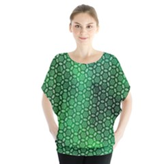 Green Abstract Forest Batwing Chiffon Blouse