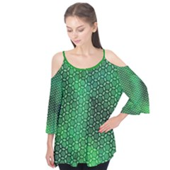 Green Abstract Forest Flutter Sleeve Tee