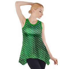 Green Abstract Forest Side Drop Tank Tunic