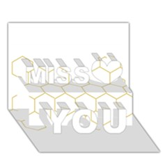 Honeycomb pattern graphic design Miss You 3D Greeting Card (7x5)