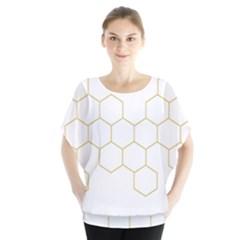 Honeycomb pattern graphic design Batwing Chiffon Blouse