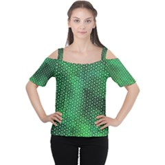 Green Abstract Forest Women s Cutout Shoulder Tee