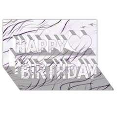Lilac Stripes Happy Birthday 3d Greeting Card (8x4)