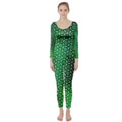 Green Abstract Forest Long Sleeve Catsuit