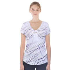 Lilac stripes Short Sleeve Front Detail Top