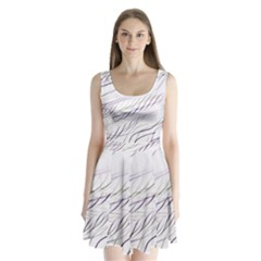 Lilac stripes Split Back Mini Dress