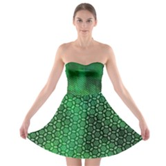Green Abstract Forest Strapless Bra Top Dress
