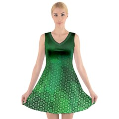Ombre Green Abstract Forest V Neck Sleeveless Dress