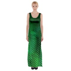 Ombre Green Abstract Forest Maxi Thigh Split Dress