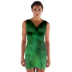 Ombre Green Abstract Forest Wrap Front Bodycon Dress