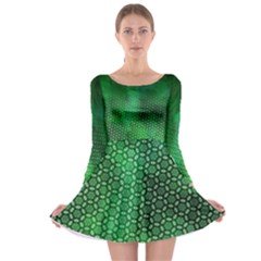 Ombre Green Abstract Forest Long Sleeve Skater Dress
