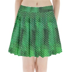 Green Abstract Forest Pleated Mini Skirt