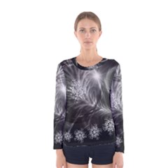 Silver Feather And Ball Decoration Women s Long Sleeve Tee