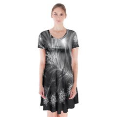 Silver feather and ball decoration Short Sleeve V-neck Flare Dress