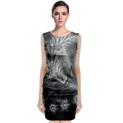 Silver Feather And Ball Decoration Classic Sleeveless Midi Dress