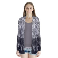 Silver Feather And Ball Decoration Drape Collar Cardigan