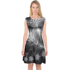 Silver Feather And Ball Decoration Capsleeve Midi Dress