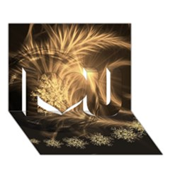 Golden Feather And Ball Decoration I Love You 3d Greeting Card (7x5)