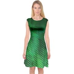 Ombre Green Abstract Forest Capsleeve Midi Dress