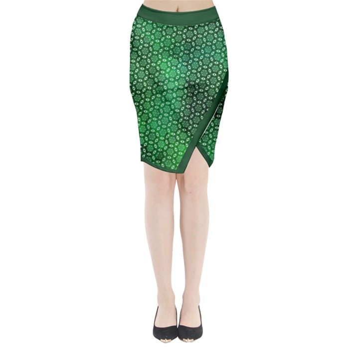 Green Abstract Forest Midi Wrap Pencil Skirt