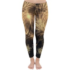 Golden Feather And Ball Decoration Winter Leggings