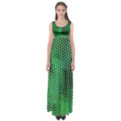 Ombre Green Abstract Forest Empire Waist Maxi Dress