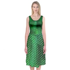 Ombre Green Abstract Forest Midi Sleeveless Dress