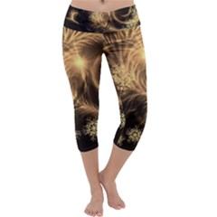 Golden Feather And Ball Decoration Capri Yoga Leggings