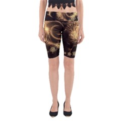Golden Feather And Ball Decoration Yoga Cropped Leggings