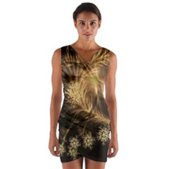 Golden Feather And Ball Decoration Wrap Front Bodycon Dress