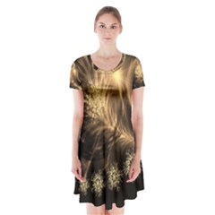 Golden feather and ball decoration Short Sleeve V-neck Flare Dress
