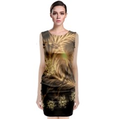 Golden Feather And Ball Decoration Classic Sleeveless Midi Dress
