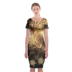 Golden Feather And Ball Decoration Classic Short Sleeve Midi Dress
