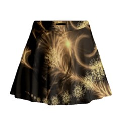 Golden Feather And Ball Decoration Mini Flare Skirt
